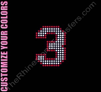 Varsity Number 3 - 2.7 Inches - with Outline - CUSTOMIZE YOUR COLORS - Rhinestone Transfer