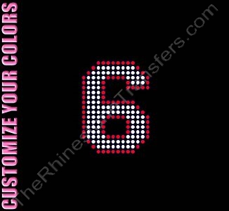 Varsity Number 6 - 2.7 Inches - with Outline - CUSTOMIZE YOUR COLORS - Rhinestone Transfer