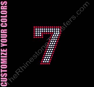 Varsity Number 7 - 2.7 Inches - with Outline - CUSTOMIZE YOUR COLORS - Rhinestone Transfer