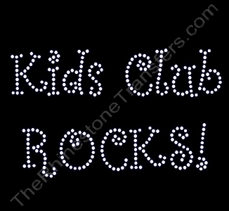 Kids Club ROCKS! - Curlz Font - Rhinestone Transfer