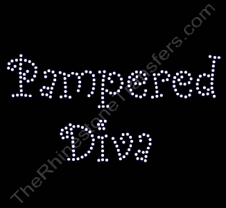 Pampered Diva - Curlz Font - Rhinestone Transfer