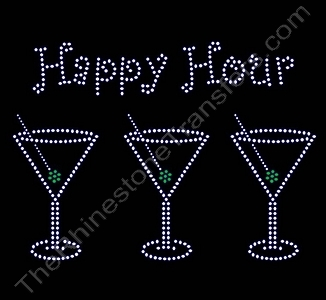 Happy Hour - with 3 Martini Glasses - Rhinestone Transfer