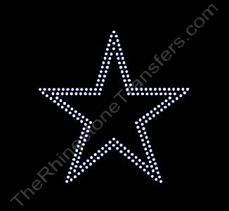 Star - 3.5 Inches - 2 Rows of Stones - Rhinestone Transfer