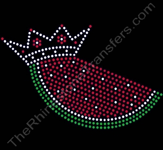 Watermelon Slice - with Crown - Rhinestone Transfer