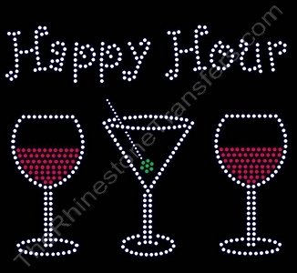 Happy Hour - with Red Wine and Martini - Rhinestone Transfer