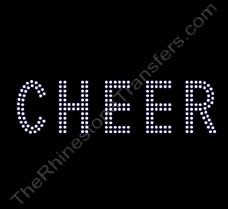 CHEER - 2 Rows of Stones - 1.8 Inches Tall - Clear - Rhinestone Transfer