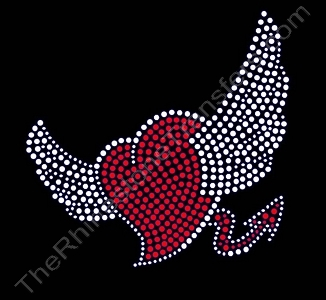 Heart - with Angel Wings and Devil Tail - Rhinestone Transfer