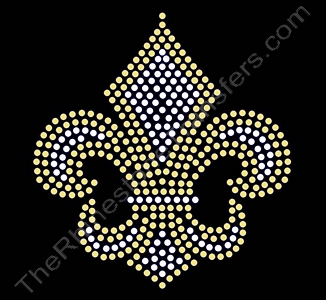Fleur de Lis - 4.5 Inches - Clear with Lt. Topaz Outline - Rhinestone Transfer