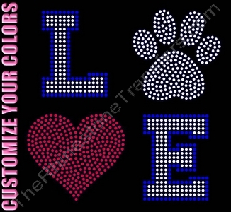 LOVE - Varsity Font - with Paw Print and Red Heart - Filled - CUSTOMIZE YOUR COLORS - Rhinestone Transfer