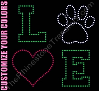 LOVE - Varsity Font - with Clear Paw Print and Red Heart - Not Filled - CUSTOMIZE YOUR COLORS - Rhinestone Transfer