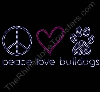 peace love paw - bulldogs - Rhinestone Transfer