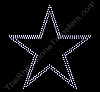Star - 8 Inches - 2 Rows of ss16 Stones - Rhinestone Transfer