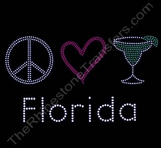Florida - with Peace Heart Margarita - Rhinestone Transfer