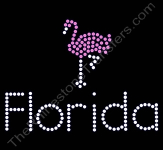 Florida - with Flamingo - Rhinestone Transfer