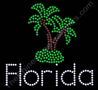 Florida - with 2 Palm Trees - Rhinestone Transfer