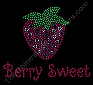 Berry Sweet - with Strawberry and Tiny Hearts - Rhinestone Transfer