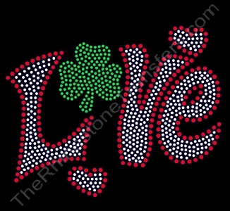 Retro Love - with Shamrock - LARGE - Rhinestone Transfer