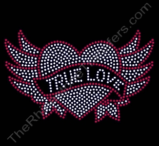 Heart - with Wings and TRUE LOVE Banner - LARGE - Rhinestone Transfer