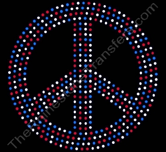 Peace Sign - 6 Inches - Red White and Blue - Rhinestone Transfer