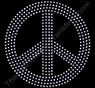 Peace Sign - 6 Inches - Rhinestone Transfer