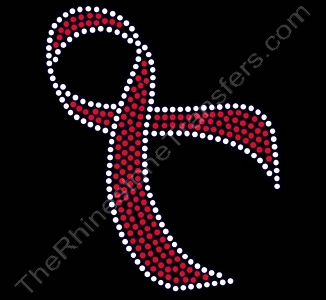 Flowing Ribbon - 7.1 Inches - Red - Rhinestone Transfer