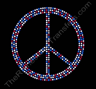 Peace Sign - 5 Inches - Red White and Blue - Rhinestone Transfer