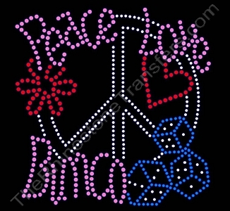 Peace Love Bunco - Rhinestone Transfer