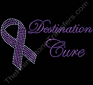 Destination Cure - with Ribbon - Pink - Rhinestone Transfer