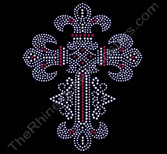 Cross - Fleur de Lis Style - with Red Accents - LARGE - Rhinestone Transfer