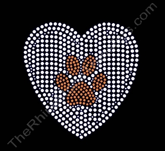 Paw Print Inside Heart - Orange - Rhinestone Transfer