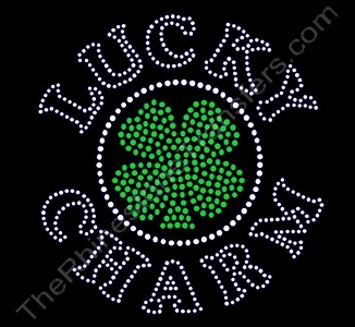 LUCKY CHARM - with Clover / Shamrock - Rhinestone Transfer