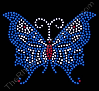 Butterfly - Silver, Red & Blue - Spangle Transfer