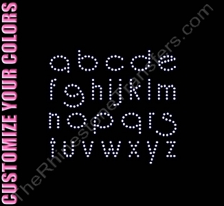 Reisling Font Letters - 1.0 Inches Height - Lower Case - ss10 Stones - CUSTOMIZE YOUR COLORS - Rhinestone Transfer