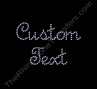 Custom Text - French Script Font - 1.6 Inches Height - 3mm Spangles - Spangle Transfer