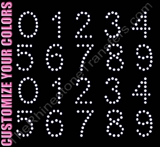 Arial Font Numbers - 1.5 Inches Height - ss16 Stones - CUSTOMIZE YOUR COLORS - Rhinestone Transfer