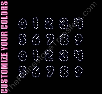 Bubbles Font Numbers - 0.9 Inches Height - ss6 Stones - CUSTOMIZE YOUR COLORS - Rhinestone Transfer