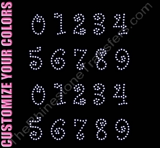 Curlz Font Numbers - 1.4 Inches Height - ss10 Stones - CUSTOMIZE YOUR COLORS - Rhinestone Transfer