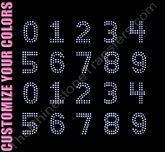 Double Lined Numbers - 1.4 Inches Height - ss10 Stones - CUSTOMIZE YOUR COLORS - Rhinestone Transfer