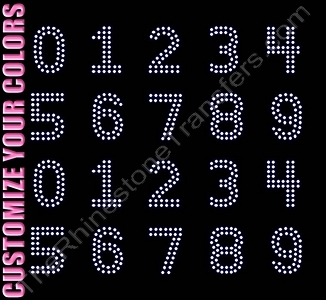 Double Lined Numbers - 1.9 Inches Height - ss16 Stones - CUSTOMIZE YOUR COLORS - Rhinestone Transfer