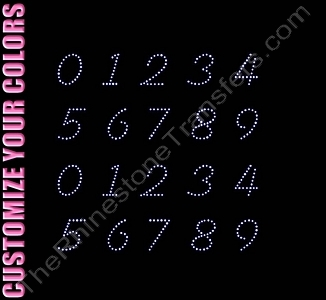 Fiolex Font Numbers - 0.9 Inches Height - ss6 Stones - CUSTOMIZE YOUR COLORS - Rhinestone Transfer