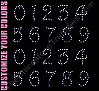 Harrington Font Numbers - 1.9 Inches Height - ss16 Stones - CUSTOMIZE YOUR COLORS - Rhinestone Transfer