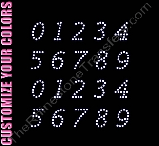 Lucidia Font Numbers - 0.9 Inches Height - ss10 Stones - CUSTOMIZE YOUR COLORS - Rhinestone Transfer