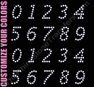Lucidia Font Numbers - 1.2 Inches Height - ss16 Stones - CUSTOMIZE YOUR COLORS - Rhinestone Transfer