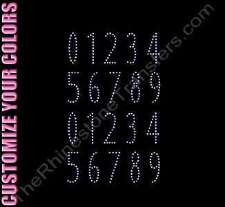 Night Club Font Numbers - 1.2 Inches Height - ss6 Stones - CUSTOMIZE YOUR COLORS - Rhinestone Transfer