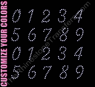 Scribble Font Numbers - 1.3 Inches Height - ss10 Stones - CUSTOMIZE YOUR COLORS - Rhinestone Transfer