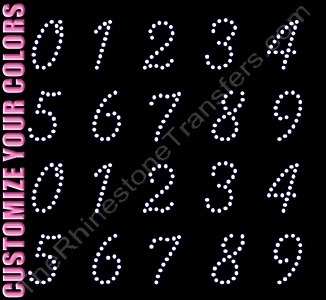 Scribble Font Numbers - 1.7 Inches Height - ss16 Stones - CUSTOMIZE YOUR COLORS - Rhinestone Transfer
