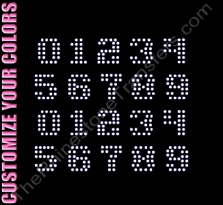 Techno Font Numbers - 0.9 Inches Height - ss10 Stones - CUSTOMIZE YOUR COLORS - Rhinestone Transfer