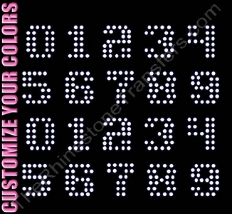 Techno Font Numbers - 1.3 Inches Height - ss16 Stones - CUSTOMIZE YOUR COLORS - Rhinestone Transfer