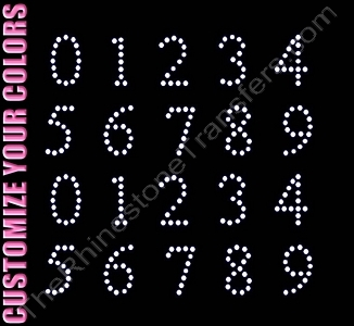 Times New Roman Font Numbers - 1.0 Inches Height - ss10 Stones - CUSTOMIZE YOUR COLORS - Rhinestone Transfer