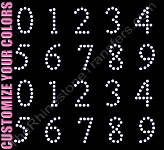 Times New Roman Font Numbers - 1.4 Inches Height - ss16 Stones - CUSTOMIZE YOUR COLORS - Rhinestone Transfer